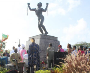 A small gathering was at the Bussa statue this morning to observe Emancipation Day.