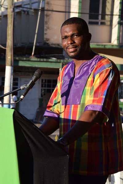 Dean of the CARICOM Youth Ambassadors, Saint Lucia's  Charde Desir, read the Declaration of Castries for Reparatory Justice during the October 29 Reparations Youth Rally held at Derek Walcott Square in Castries, the Saint Lucia capital city.