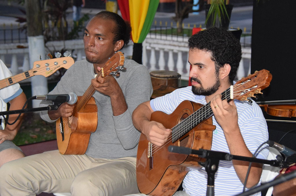 A Saint Lucian and a Venezuelan from the Saint Lucia School of Music stringed and strummed through local Kwéyol music with equal ease, demonstrating that music knows no language bounds.