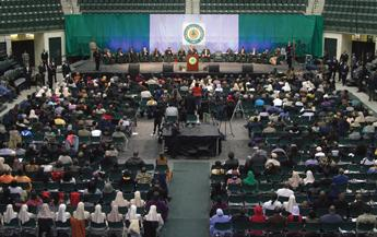 """Minister Farrakhan spoke on the subject of """"Revitalizing the Reparations Movement"""" on the campus of Chicago State University"""