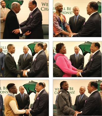 Min. Farrakhan and Rep. John Conyers, Jr. (D-MI). In all photos clockwise, Min. Farrakhan greets students from Chicago State University as the college's president Wayne Watson looks on