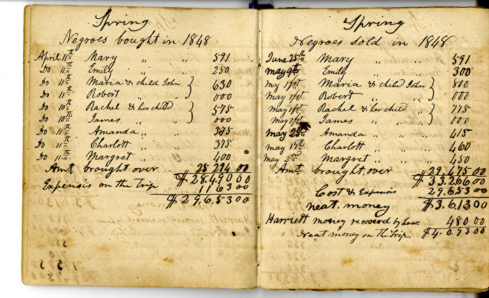 Slave trader ledger of William James Smith to count the monetary cost of each slave © Flickr/ Special Collections at Wofford College