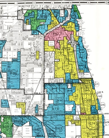 A 'redlining' map of Evanston issued in 1940.